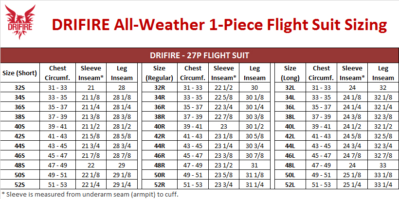 DRIFIRE Flight Suit Sizing