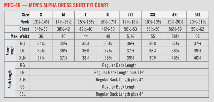 Bulwark Fr Dress Shirt Sizing Information