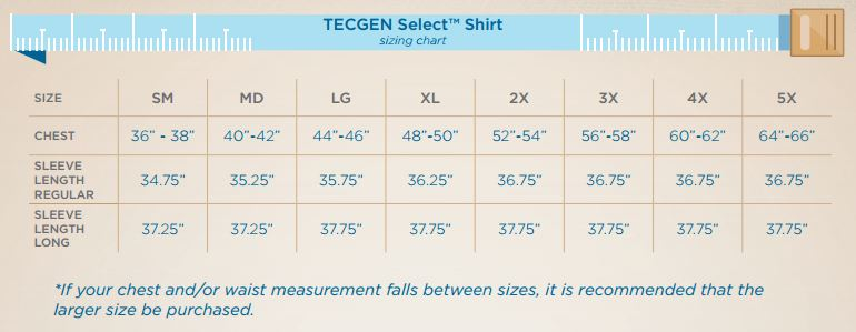 Mens Tecgen Shirt Sizing Chart