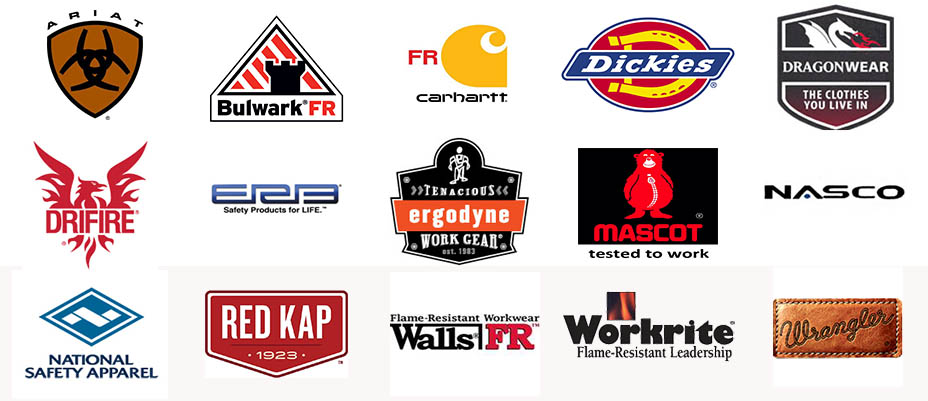 Brands we carry - FR Carhartt, Drifire, Bulwark FR, Wrangler FR, Nasco, National Safety Apparel, Walls FR, Carhartt Footwear, Dragonwear, ERB, Workrite, Ariat, Ergodyne