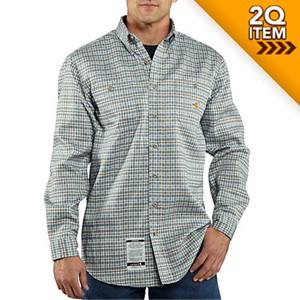 Carhartt Work-Dry FR Work Shirt in Blue Plaid