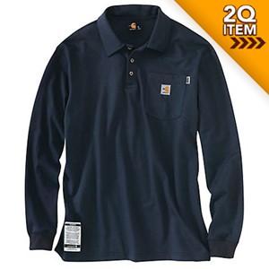 Carhartt FR Force Cotton Long Sleeve Polo in Dark Navy