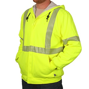 FR Hi-Vis Lined Hooded Sweatshirt with Zipper and Waffle Lining