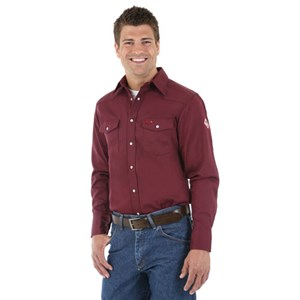 Men's Western FR Work Shirt in Burgundy