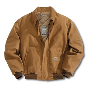 Flame Resistant Duck Bomber Jacket with Quilt Lining-Brown