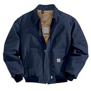 Flame Resistant Duck Bomber Jacket with Quilt Lining-Navy