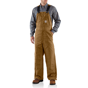 Flame Resistant Midweight Lined Bib Overall-Brown