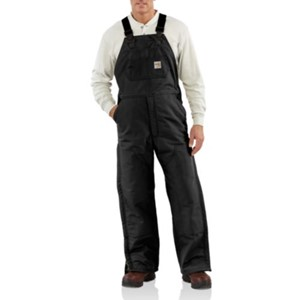 FR Duck Bib Overall with Quilted Lining-Black