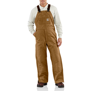 FR Duck Bib Overall with Quilted Lining-Brown