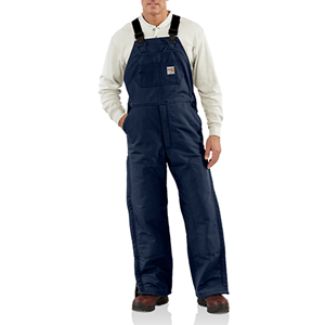 FR Duck Bib Overall with Quilted Lining-Navy