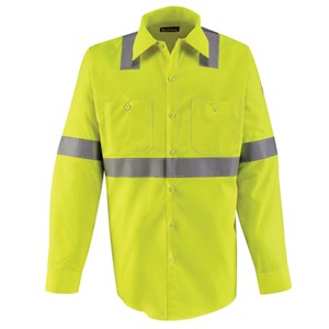 Hi-Vis FR Long Sleeve Button Front Work Shirt