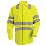 Double Stripe, Long Sleeve Hi-Vis Work Shirt
